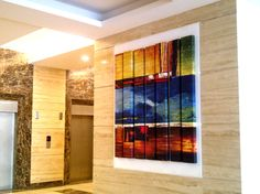 Colourful panelled art @ Lift lobby