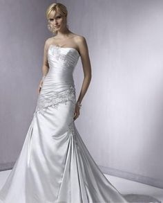 US $212.99 | Silver Mermaid Strapless Wedding Dresses Chapel Train Lace