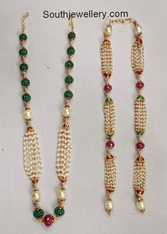 Pearls and Beads Necklaces - Indian Jewellery Designs Pearl Necklace Designs, Beaded Jewelry Designs, Gold Earrings Designs, Gold Jewellery Design, Bead Jewellery, Jewelry Patterns, Jewelry Necklaces, Beaded Necklace, Simple Necklace
