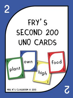 Fry's 2nd 200 Words - Uno Cards --- Need a fun way to learn for your students to learn Fry's Words? Here is your answer! This game is played exactly the same way as the original Uno game but instead of numbers it contains Fry words on them. The students have to say the Fry word in order to be able to play the card. I've made these in print font so they are clear and easy to read. This file contains: Uno cards for the 2nd 200 words in Fry's word list 4 skip, reverse and draw 2 cards 6 wild…
