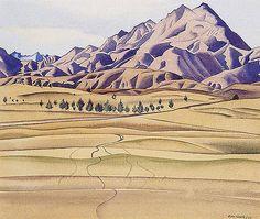 Rita Angus - Mountains And Foothills New Zealand Houses, New Zealand Art, Mountain Drawing, Mountain Art, World Of Wearable Art, New Zealand Landscape, Nz Art, Examples Of Art, Art Folder