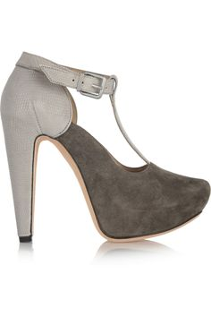 Roland MouretLizzy suede and snake-effect leather pumps