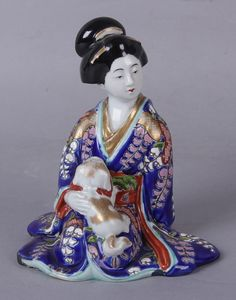 Japanese Antique Meiji Period Kutani Okimono/ Statue Important Woman from manyfacesofjapan on Ruby Lane