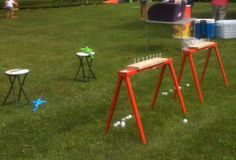 Water gun target! Took ping pong balls, golf tees and a piece of wood! We had water guns that hook to a 20 oz bottles filled with water!