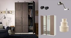 I wonder if this would work in the entry way? PAX white wardrobe with HEMNES grey-brown doors