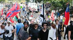 White supremacists cheer Trump's response to Charlottesville violence. White nationalist demonstrators walk through town after their rally was declared illegal near Lee Park in Charlottesville, Va. Bikers For Trump, United Nations Human Rights, Anarchism, How He Loves Us, Political News, Political Leaders, Cnn Politics, Skinhead, Journaling