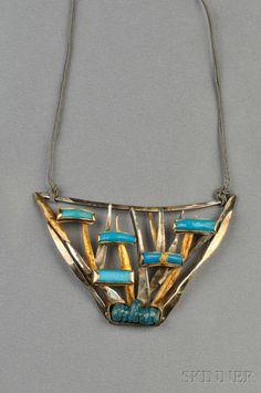 Sterling Silver, 24kt Gold, and Glass Pendant, Miye Matsukata, Janiye | Bidsquare