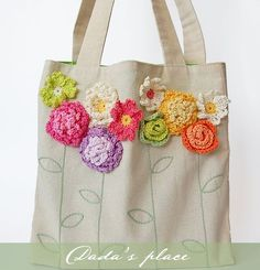 Tote bag with crochet flowers