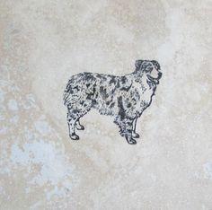 Custom Handmade Australian Shepherd Dog Natural Stone