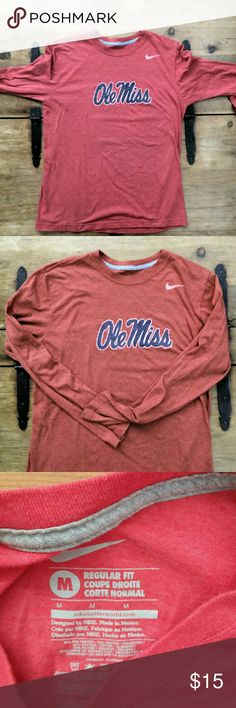 NIKE Ole Miss Rebels Men's Long Sleeve Tshirt This is an awesome long sleeve t-shirt for any Ole Miss Rebels fan. It has long sleeves, Nike Dri-FIT fabric that is super soft, and a marled finish.    Lightweight and comfortable!  50% polyester 25% rayon 25% cotton Nike Shirts Tees - Long Sleeve
