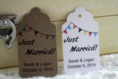 Just Married Bunting Tags Perfect for by SillyLoveSongCustoms