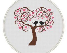 Árbol de amor Cruz envío gratuito de patrón por MagicCrossStitch