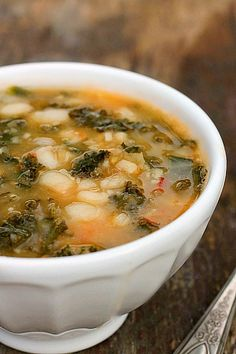 Kale Bean Soup A hearty , delicious soup that just happens to be good for you! Packed full of nutrients and flavor and easy to make. It can be simmered on the stove or made in a crock pot.