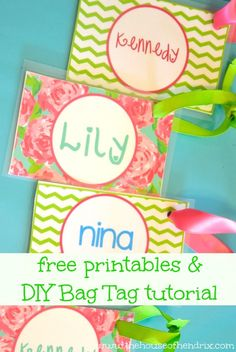 DIY Personalized Bag Tags and Printables for Lunch Box and Backpack AND cute template to use for other printables