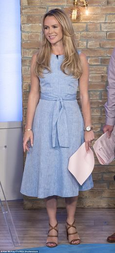 Summer wardrobe: Amanda Holden looked chic in a full skirted blue dress as she returned to This Morning on Monday after taking some time off for Britain's Got Talent Laurie Holden, Amanda Holden, Hampshire, Hottest Female Celebrities, Celebs, Britain's Got Talent, Light Blue Dresses, Tv Presenters, Chambray Dress