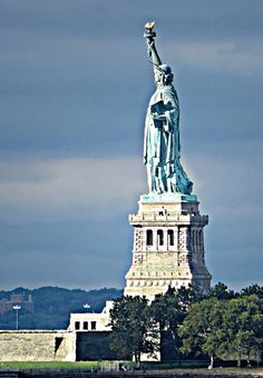 Statue of Liberty viewed from Battery Park City, New York City. September 11, 2015.
