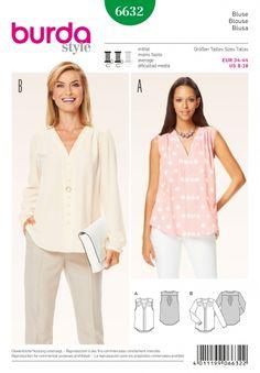Burda Style Pattern 6632 Misses' Blouse Burda Sewing Patterns, Blouse Patterns, Clothing Patterns, Blouse Sewing Pattern, Sewing Clothes Women, Ladies Clothes, Sewing Blouses, Make Your Own Clothes, Schneider