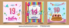 Vector Sets of 19 Years Birthday invitation, greeting card Design, with confetti and balloons, birthday cake, Colorful Vector template Elements for your Birthday Celebration Party.