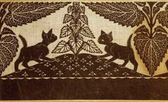"""Kitnip"" textile  One of my favorite images by Virginia Lee Burton as part of The Folly Cove Designers."