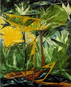 """RAYONISMO ........ """"The Green and Yellow Forest"""" ......NATALIA GONCHAROVA.....Russian. .....6/4/1881--10/17/1962"""