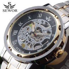 SEWOR Gold Men Skeleton Mechanical Watch Stainless Steel Hand Wind Watches For Men Transparent Steampunk Montre Homme Wristwatch //Price: $22.99 & FREE Shipping //     #hashtag3