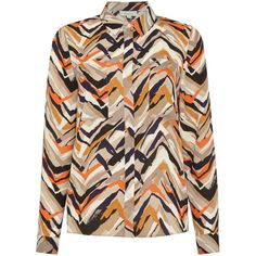 Linea Graphic multi stripe shirt (£39) ❤ liked on Polyvore featuring tops, women, stripe shirt, graphic shirts, polyester collared shirts, polyester shirt and stripe top