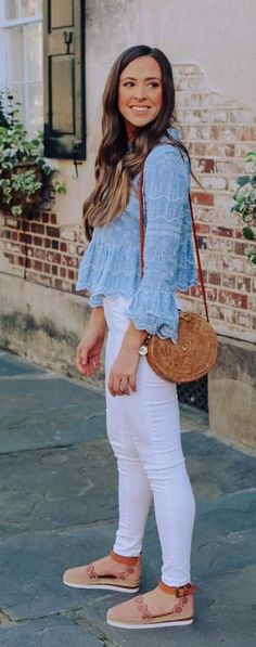 Glamorous blue top, white jeans And Stylish shoes