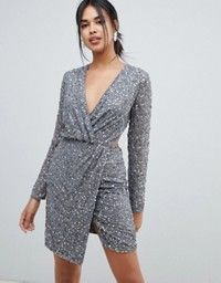 1f11147a ASOS Tall | ASOS DESIGN Tall scatter sequin knot front kimono mini dress