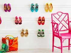Kick up your heels! Hang your shoes from wall-mounted moulding.