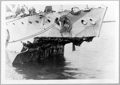 Damaged bow of HMS Fearless after accidentally ramming and sinking submarine K17 on the night of 31st January 1918. In a related incident, K14 sank with all hands after being rammed by another submarine. In all, 270 men died. The crew of K3 (Herbert in command), stopped in the water nearby, were unharmed.