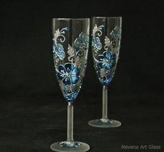 Blue Wedding Glasses Champagne Glasses Champagne от NevenaArtGlass