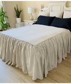 Iron Grey and White Ticking Striped Bedspread with gathered ruffle fall, linen bedspread, ruffle bedding linen Coverlet Ruffle Pillow, Ruffle Bedding, Linen Bedding, Linen Fabric, Farmhouse Bedroom Decor, Country Farmhouse Decor, Country Living, Farmhouse Style, Kitchen Sink Design