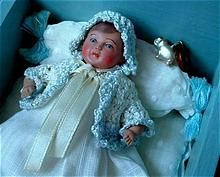 Heavenly Art Deco CELLULOID Doll, Clothes, BEDDING, Wood Doll Furniture CRADLE & Toy c.1920's!