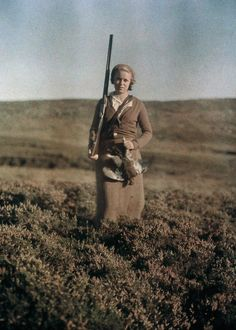 Eva Poses After A Successful Hunt In Scotland,  C. 1920