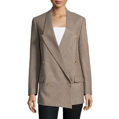 Michael Kors Collection Double-Breasted Crossover Boyfriend Jacket (78.260 RUB) ❤ liked on Polyvore featuring outerwear, jackets, java, michael kors, boyfriend jacket, double breasted jacket, straight jacket and michael kors jackets