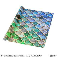 Green Blue Shiny Ombre Glitter Mermaid Scales Wrapping Paper #s6gtp