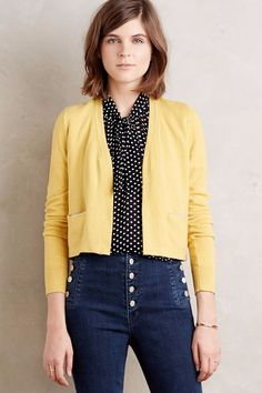 b4be7deb5bb6 Anthropologie Trieste Topper Open Front Cropped Cardigan by Monogram XS -  Yellow