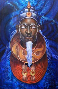 """Olokun, the orisha of the Yoruban pantheon whose name means """"Owner of Oceans."""" Olokun governs the ocean depths, material wealth, psychic abilities, dreaming, meditation, mental health and water-based healing. Olokun is considered the patron orisha of the African diaspora and its descendants, having received the bodies of slaves who threw themselves into the ocean depths during the Transatlantic Slave Trade."""