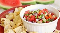 Watermelon replaces the tomatoes in this Watermelon Salsa recipe that's a sweet, spicy and refreshing combo for any outdoor get together.
