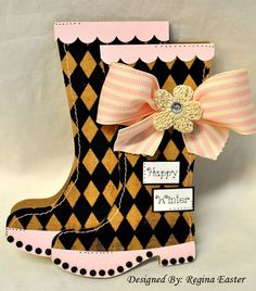 rain boots - wellies  Regina Easter - rain boots shaped card set