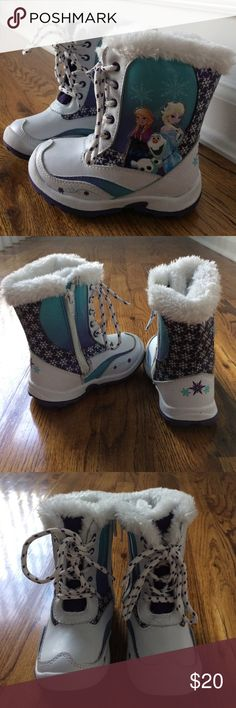 "Girls Frozen Snow boots ""Let it go!"" What little girl doesn't love Frozen? Hardly worn & very loved there is lots of life left on these boots. Lace up front with inside ankle zipper for easier on & off. Thermolite lining and faux fur around top opening. Has ""This belongs to...""inside label never written on! White with Elsa blue & Anna Purple. I have the box!! Disney Shoes Rain & Snow Boots"