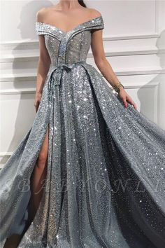 Elegant Sequins Off the Shoulder Sleeveless Prom Dresses, Silver Slit Evening Dresses This dress could be custom made, there are no extra cost to do custom size and color A Line Prom Dresses, Formal Evening Dresses, Quinceanera Dresses, Dance Dresses, Sexy Dresses, Dress Formal, Wedding Dresses, Party Dresses, Dresses Elegant