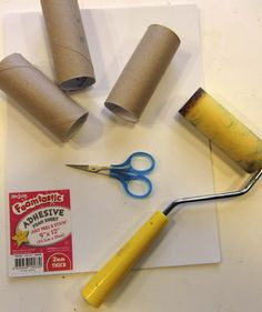Roller stamps using foam adhesive, toilet paper rolls and a foam roller brush. Kewl!