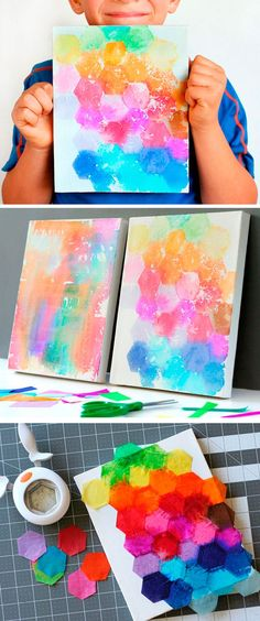 Try this fun art project idea for kids! Just punch shapes from tissue paper, paint with water, and reveal the finished canvas! So easy and cute. #artprojects