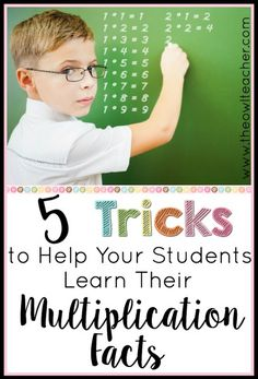 Help your students become fluent with their multiplication facts with these 5 tips and tricks! Plus, a math game freebie! Math For Kids, Fun Math, Math Resources, Math Activities, Math Worksheets, Multiplication Tricks, Math Fractions, Subtraction Games, 3rd Grade Math