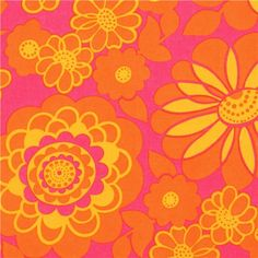 pink flower fabric with orange petals Timeless Treasures