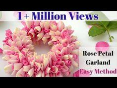 How to String Rose Petals garland    Easy Method to make garland Rose Petals    Rainbow Rangoli - YouTube