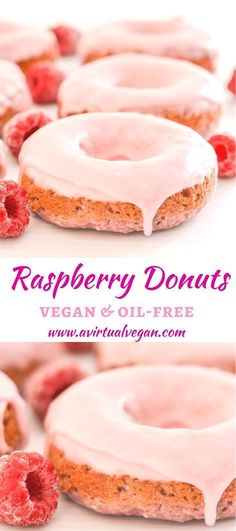 Raspberry Donuts Soft & fluffy oil-free baked Vegan Raspberry Donuts with sweet, pretty in pink glaze. Infused with sweet raspberry flavour & so delicious! via & fluffy oil-free baked Vegan Raspberry Donuts with sweet, pretty in pink gl Dessert Sans Gluten, Vegan Dessert Recipes, Donut Recipes, Baking Recipes, Pastry Recipes, Vegan Donut Recipe, Baking Desserts, Shrimp Recipes, Recipes Dinner