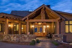 This rustic dream retreat was designed by Brechbuhler Architects, nestled in the Gallatin Foothills, just south of Bozeman, Montana. Mountain Living, Mountain Modern, Home On The Range, Building Companies, Large Windows, Concrete Floors, Rocky Mountains, Great Rooms, Custom Homes