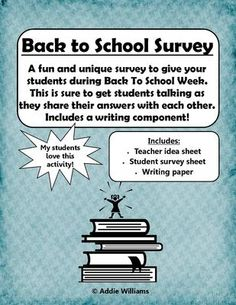Fun Back to School Student Survey from AddieWilliams on TeachersNotebook.com -  (3 pages)